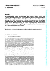 Antrag der Grünen Bundestagsfraktion: Den sozialen Zusammenhalt während der Corona-Krise und danach stärken